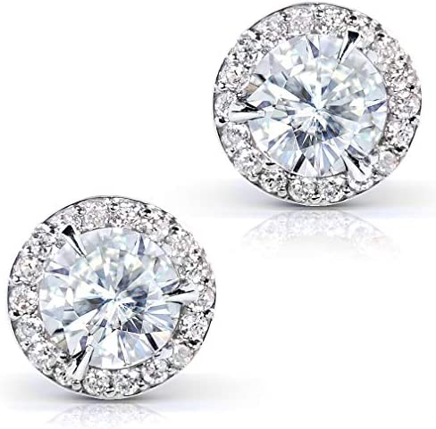 Kobelli Round Moissanite Stud Earrings 2 1/4 CTW 14k Gold