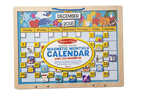 (Melissa & Doug Monthly Magnetic Calendar With 133 Magnets and 2 Fabric-Hinged Dry-Erase Boards)