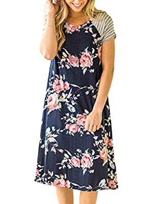 HOTAPEI Women's Floral Print Casual Short Sleeve A-line Loose T-Shirt Dresses Knee Length