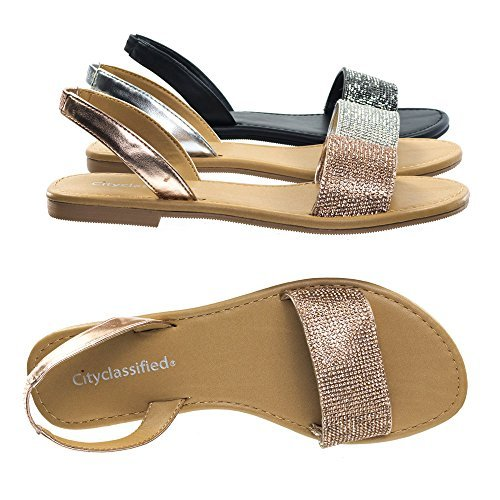 City Classified Comfort Rhinestone Crystal Embellished Flat Open Toe Summer Sandal w Sling Back (Gold Crystal Couture)