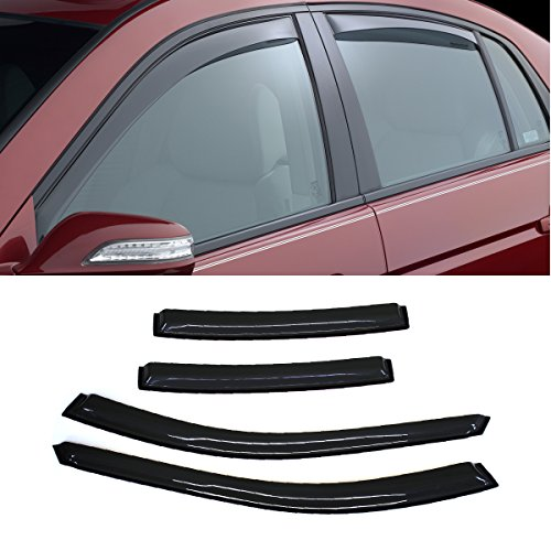 VIOJI 4pcs Dark Smoke Outside Mount Style Sun Rain Guard Vent Shade Window Visors Fit 04-08 Acura TL All Models ()