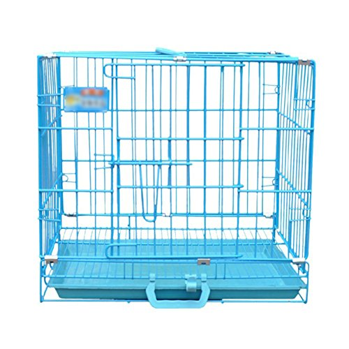 SL&ZX Folding metal dog crate,Blue pet dog cage cat rabbit cage folding dog houses thick wire cage small dog crate tall dog playpen large open kennel-Single Door 60x42x50cm(24x17x20inch)