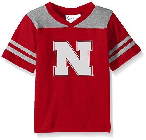 Two Feet Ahead NCAA Nebraska Cornhuskers Toddler Boys Football Shirt, Red, (Nebraska Red Jersey)