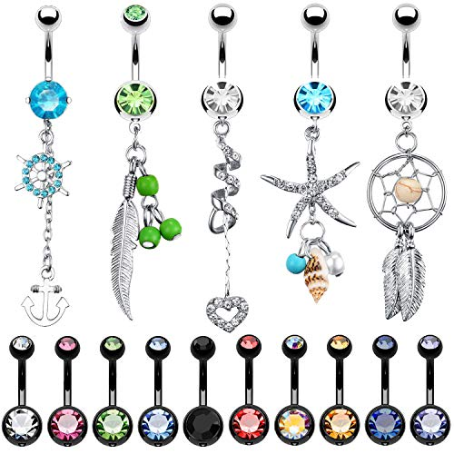 BodyJ4You 15 Belly Button Rings Dangle Barbells 14G Black Stainless Steel CZ Navel Body Jewelry