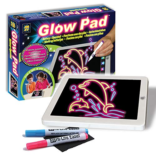 AMAV Glow Pad - Portable Hi-Tech Drawing Board for kids Toy Tablet-size With 7 Interchanging Blinking Colorful Lights. Children's light up coloring board, Arts and Crafts set ()