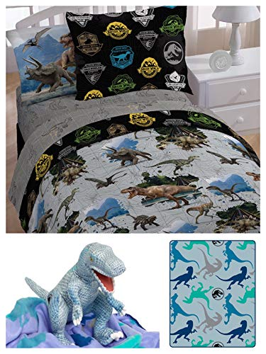 Jurassic World Universal Kids Twin Bedding Set - Comforter, Fitted Sheet, Flat Sheet, Pillowcase, Sham and Hugger Throw