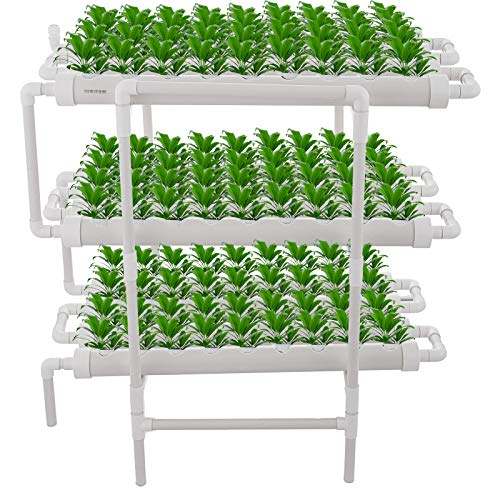 Mophorn Hydroponic Site Grow Kit 3 Layers 108 Plant Sites Hydroponic Growing System 12 Pipes Water Culture Garden Plant System for Leafy Vegetables Lettuce Herb Celery Cabba (3 layers 108 plant sites)
