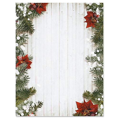 (Poinsettia Pine Christmas Letter Papers - Set of 25 Christmas stationery papers are 8 1/2