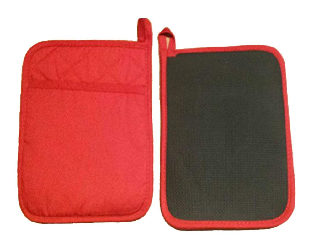 Home Collection Set of 2 Red Neoprene Pot Holders