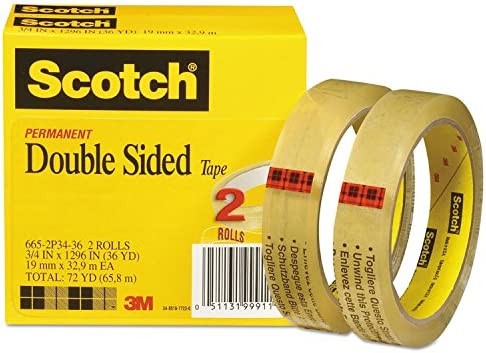 """DOUBLE SIDED CLEAR TAPE,1/"""" WIDE 3 INCH CORE 1,296/""""INCHES, 6 ROLLS"""