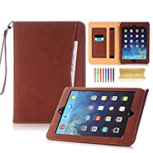 iPad Air 2 Case, UUcovers Premium PU Leather Vintage Wallet with Pocket Stylus Business Card Slots [Hand & Elastic Strap] [Auto Wake/Sleep] Folio Stand Case for Apple iPad Air 2 9.7 Inch/iPad 6 2014 Model, Brown