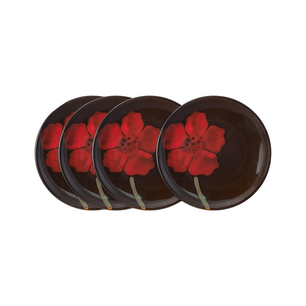 Pfaltzgraff Painted Poppies Appetizer Plates, Set of 4