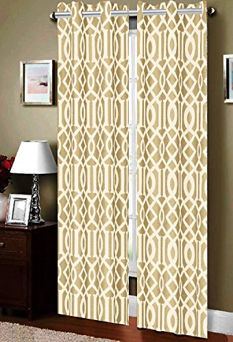 Elegance Linen Luxury Look Heavy-Weight Blackout Panel Set with 8 Grommets, Room Darkening Energy Saving and Noise-Reducing-54 Width X 84