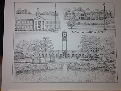 UNC-Wilmington 14''x18'' pen and ink collage print by Campus Scenes