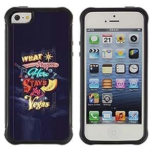 LASTONE PHONE CASE / Suave Silicona Caso Carcasa de Caucho Funda para Apple Iphone 5 / 5S / Las Vegas Stays In Happens Blue Lights