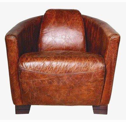 Art Deco Echtleder Sessel Ebony Leder Ciger Braun Clubsessel