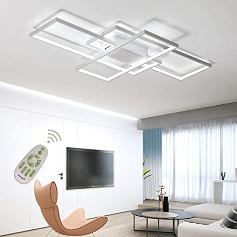 LED Ceiling Light Dimmable Living Room Kitchen Island Table Light Fixture  With Remote Control, Modern Dining Room Flush Mount Acrylic Chic Design ...