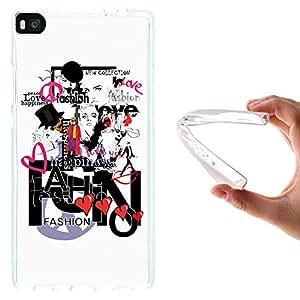Funda Huawei P8, WoowCase [ Huawei P8 ] Funda Silicona Gel Flexible Moda Fashion Love, Carcasa Case TPU Silicona - Transparente