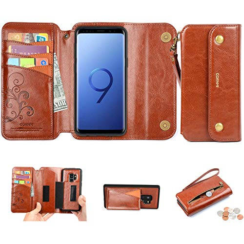 CORNMI Galaxy S9 Wallet Case, S9 Leather Wallet Case Detachable [3 in 1] Folio Purse with 8-Card Slots Wrist Strap Zipper Kickstand Magnetic Closure Compatible for Samsung Galaxy S9 5.8 Inch (Brown)