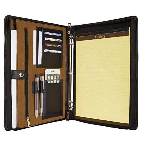 Handmade Genuine Leather Padfolio Portfolio for 13.5 Tablet/Laptop,3 Ring Binder Document Organizer with Letter Size Notepad Holder,Professional Business Folder,Black