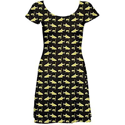 Brown Image of Sharks and Underwater Masks Short Sleeve Skater Dress