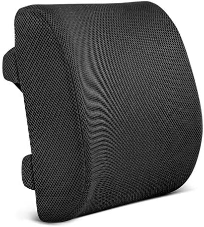 Restorology Orthopedic Memory Foam Lumbar Support Back Cushion for Office Chair and Car Seat – Designed to Reduce Back Pain and Boost Circulation, Hypoallergenic, Adjustable Straps and Mesh Cover