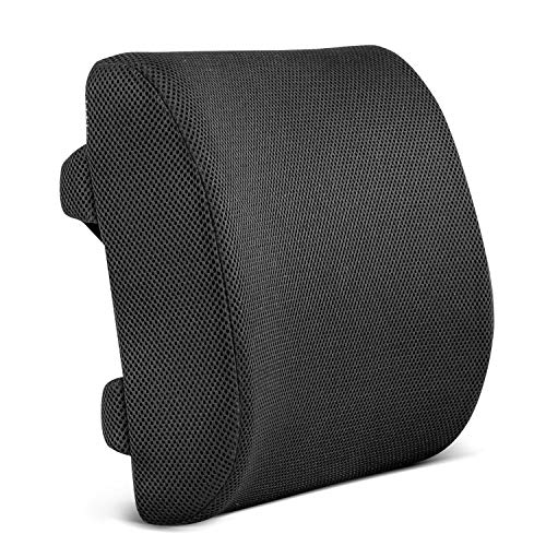 Restorology Orthopedic Memory Foam Lumbar Support Back Cushion for Office Chair & Car Seat - Designed to Reduce Back Pain & Boost Circulation with Hypoallergenic with Adjustable Straps & Mesh - Am Trainer Driver