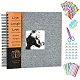 Anleymu Scrapbook Linen Cover, Photo Album with Photo Opening, High-end Guest Book for Valentines Day, Wedding, DIY Anniversary Travel Memory Scrapbooking with Scrapbook Accessories (Gray, 10 inch)