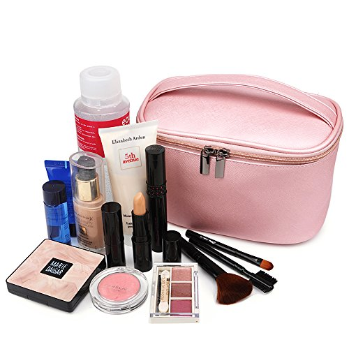 Cosmetic Bag,365park Travel Cosmetics MakeUp Case Organizer Bag with Brush Holder(Z005/Pink) by 365park (Image #5)