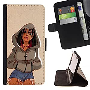 Momo Phone Case / Flip Funda de Cuero Case Cover - Fille femme Jeans Jambes courtes - Motorola Moto E ( 1st Generation )