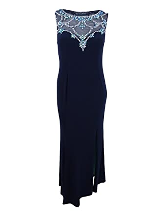 62cbfaad41c Betsy   Adam Plus Size Embellished Illusion Sweetheart Gown (Navy ...