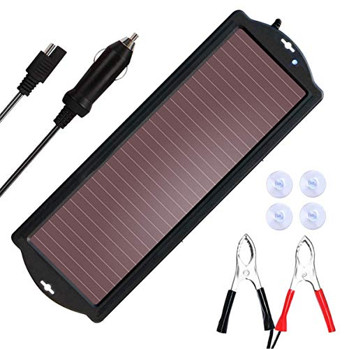 SARONIC Cargador de batería solar para coche con enchufe de encendedor de cigarrillos y clip de carga de batería, apto…
