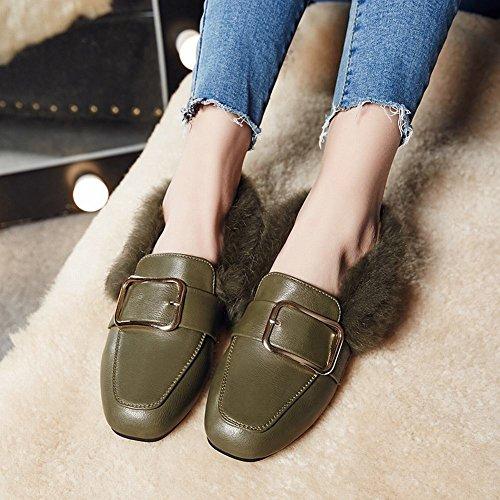 Schuhe Flache Schnalle Loafer Casual Grün Toe Frauen Western Square Carolbar qYnw08gx7q