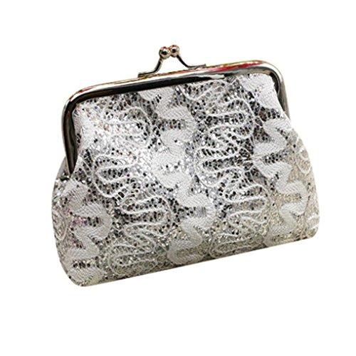 DZT1968® Women Short Mini Card Holder Handbag Coin Money Wallet (Silver) (Silver Card Coin)