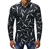 Men's Floral Shirts Hawaiian Branch Printed Slim Fit Dress Button Down Shirts Zulmaliu (M, Black)