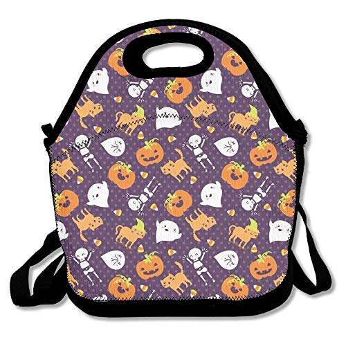 Silly Halloween Frightful Friends Reusable Lunch Bags Carry Cases Insulated Lunch Tote Neoprene Portable Lunch Boxes Handbag Pouch with Strap Perfect for Women Men Kids]()