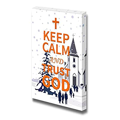 Canvas Wrap Wall Art - Keep Calm and Trust God| Modern Wall Art Stretched Canvas Prints Ready to Hang - 24