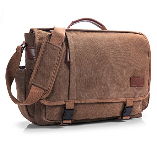 CoolBELL Messenger Bag 15.6 Inch Canvas Briefcase Vintage Shoulder Bag Laptop Case Mens Handbag Business Briefcase Multi-Functional Travel Bag for Men/Work / College/Student (Coffee)