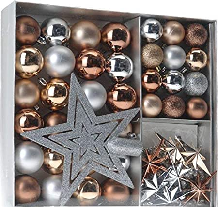 Weihnachtsbaumschmuck Set - 45 teilig in Metalltönen (Kupfer, Silber, Gold etc.) - 36 Kugeln, Weihnachtsbumspitze, Dekosterne