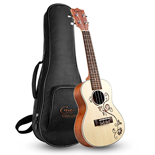 Hricane Concert Ukulele 23 Inch Spruce Flower Carved Sapele Professional Ukuleles for Beginners with Bag String Set -