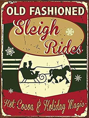 (Kent Sparks Wonderful Works Old Fashioned Sleigh Rides Metal Sign Hot Cocoa, Holiday cor, Christmas, Winter. 12 x 8 inch)