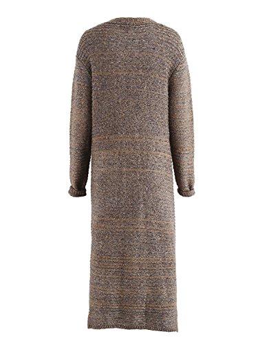 Simplee Apparel Women 's Long Sleeve knitteed cable bolsillo frontal abierto Cardigan Sweater Dress Marron