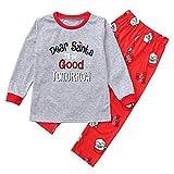 Family Matching Pajamas Set,2PCS Christmas Mom Long Sleeves Letter Print Top+Pants Family Clothes (Gray -1, 4 Years)