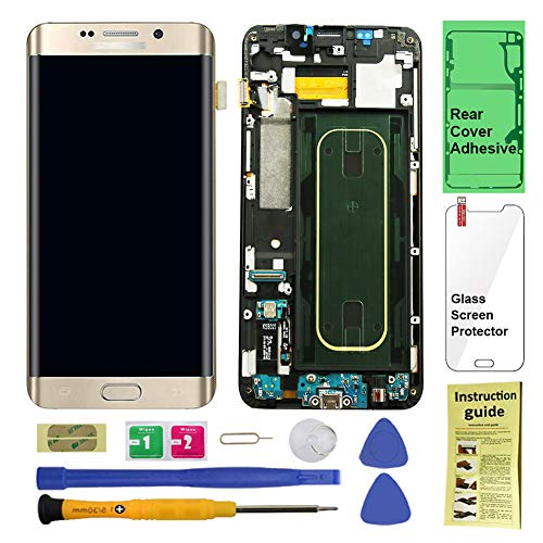 Display Touch Screen (AMOLED) Digitizer Assembly with Frame for Samsung Galaxy S6 Edge+ (Plus 5.7 inch) G928T (T-Mobile) (for Mobile Phone Repair Part Replacement) (Repair Tool Kits) (Gold Platinum) (Cost To Fix Galaxy S6 Edge Screen)