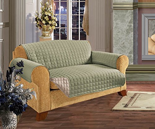 Elegant Comfort Quilted Reversible Furniture Protector for Pet Dog Children Kids -2 Ties to Stop Slipping Off Treatment Microfiber As Soft as Egyptian Cotton Green/CreamSofa
