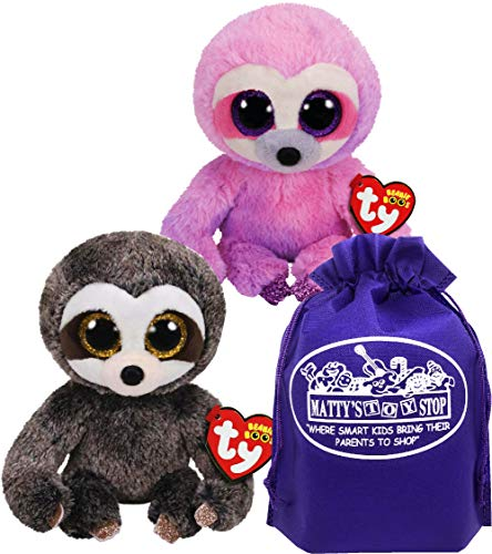 TY Beanie Sloths Dangler (Grey/Brown) & Dreamy (Pink/Purple) Gift Set Bundle with Bonus Matty's Toy Stop Storage Bag - 2 Pack