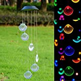 Home Garden Best Deals - Yescom Solar LED Color Changing Shell Wind Chime Mobile Home Garden Yard Christmas Xmas Valentines Gift Decor