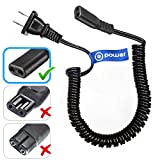 T-Power for Philips Norelco, Remington, Grundig, Braun, Eltron Shaver Power Lead Electric Shavers Razors Cable Universal Shaver Cord, Coiled ((CHECK MODEL LIST IN DESCRIPTION)