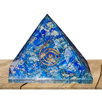 PYOR Lapis Lazuli Orgone Pyramid Chakra Balancing Reiki Healing Aura Cleansing Home Decor Gift Item 3-3.5 inch Approx