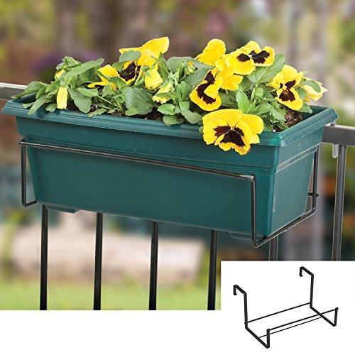 Adjustable Window Box Deck Rail Kit: Panacea 89054 Adjustable Deck Flower Box Holder, Black, 8